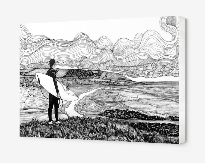 croyde-surfer-drawing-on-canvas-by-russe