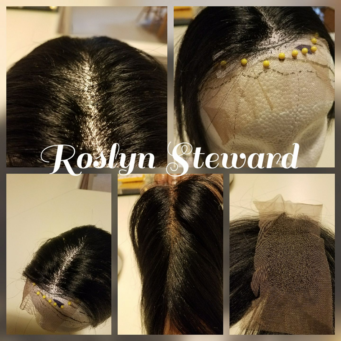 Custom hand-tied wig collage