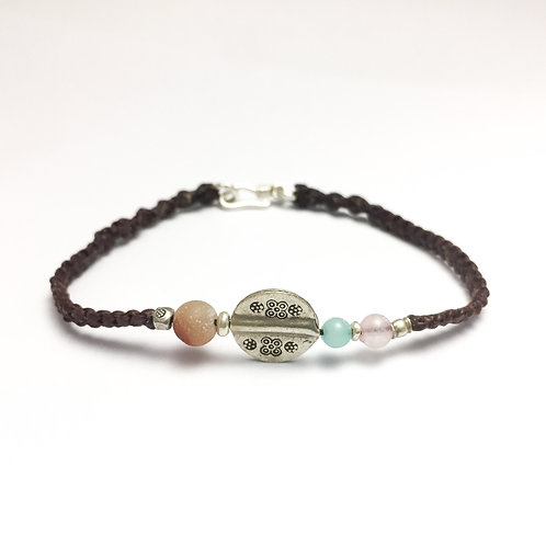 Love and chakra balancing silver bracelet