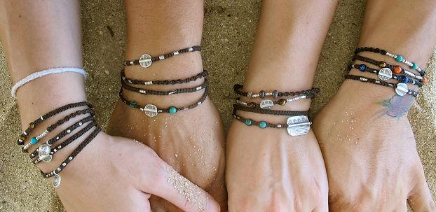 Hand made bracelets, silver, semi precious stones