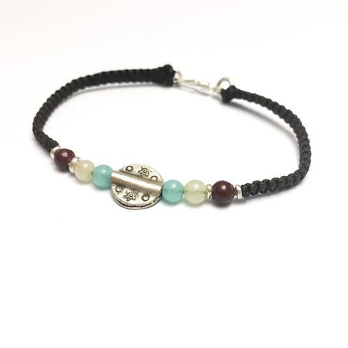 Silver and jade handmade bracelet