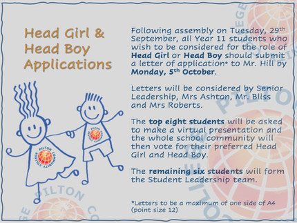 Head Girl & Head Boy Applications