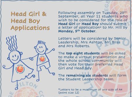 Head Girl & Head Boy Applications