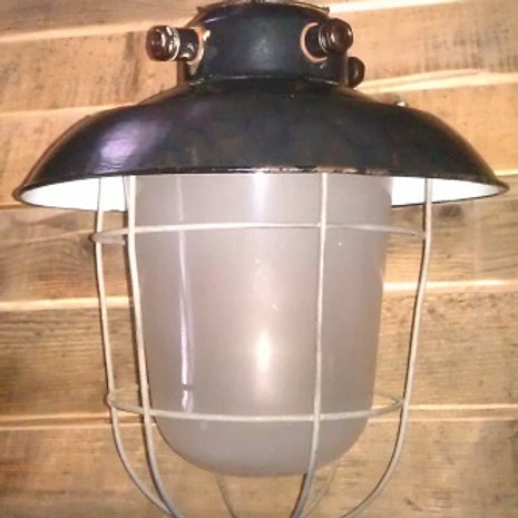 Lampada a sospensione in metallo e vetro