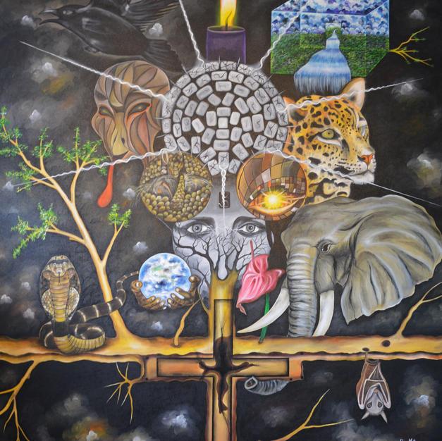 The tree of life 140 x 170 cm, oil on ca
