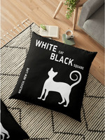 White cat, black square