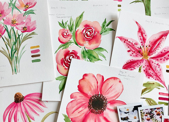7 days of watercolour flowers