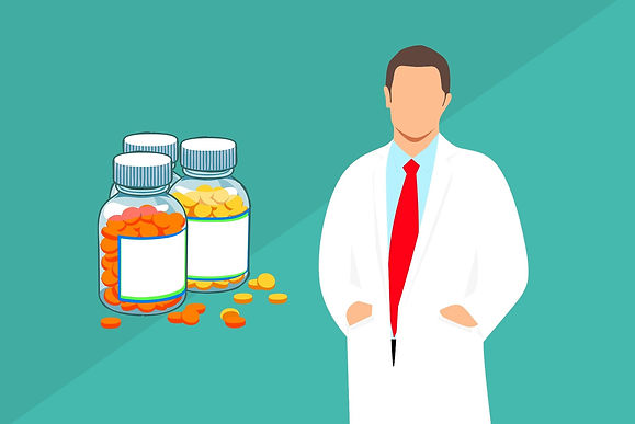 pharmacist, prescription drugs, pills, lab coat, turqoise background, pharmaceutical