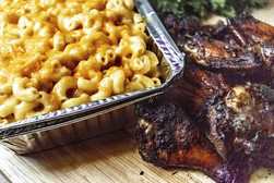 jerk chicken wings w. mac and cheese
