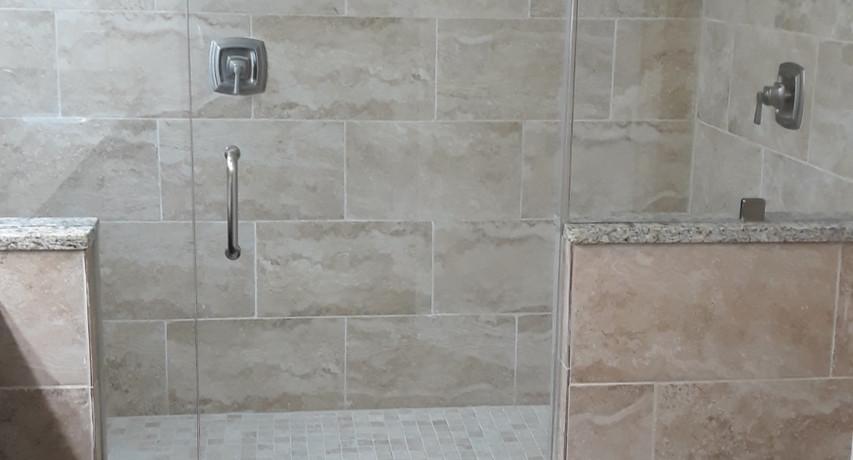 Glass shower install Master Bath