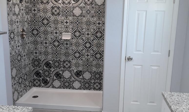 Master bathroom custom tile shower