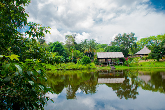 Traditional wooden house near the lake i