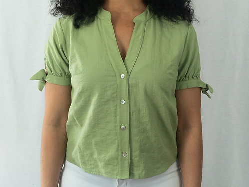 Short Sleeved Button Up Top