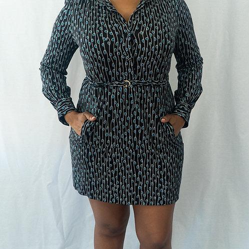 DVF Long Sleeve Tunic Dress w/Belt