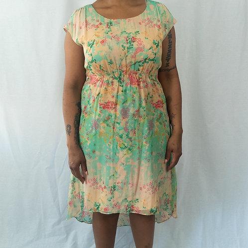 High-Waisted Floral Dress