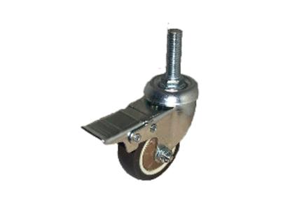 Колесо коричневая мягкая резина болтовое крепление с тормозом (металл) (М10) 50м
