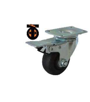 Колесо термостойкое нейлоновое (фенольное) поворотное с тормозом 125   1143125