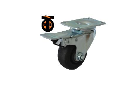 Колесо термостойкое нейлоновое (фенольное) поворотное с тормозом 075  1143075