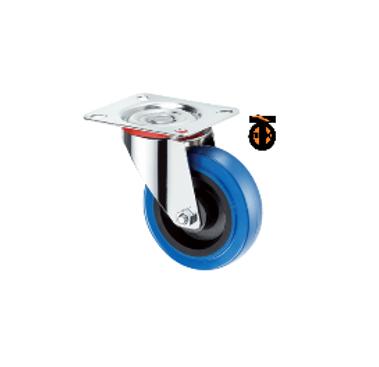 Поворотная колесная опора с шинкой из эластичной синей резины 125