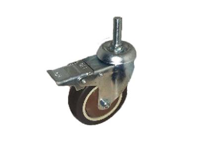 Колесо коричневая мягкая резина болтовое крепление с тормозом (металл) (М10) 75м