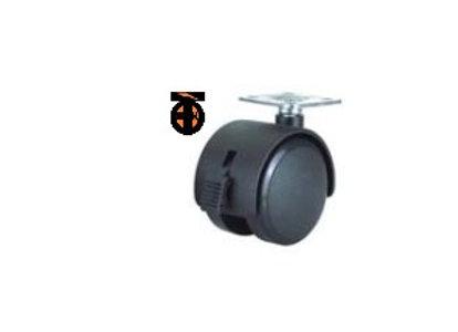 Колесо мебел. поворотное с тормозом 50мм (черный пластик)