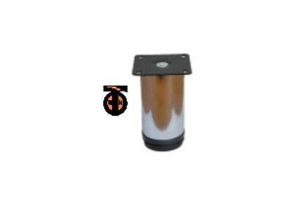 Ножка меб.регулир. диаметр 50мм, Н-10см (хром), крепление плоск.черный квадрат