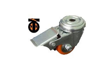 Колесо полиуретан. поворот под болт М10. с тормозом 35 мм (903035Т)  1045035