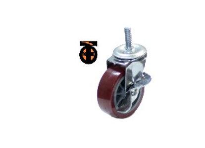 Колесо мебел. поворотное болт.крепление (М10) с тормозом 75мм (красный пластик)