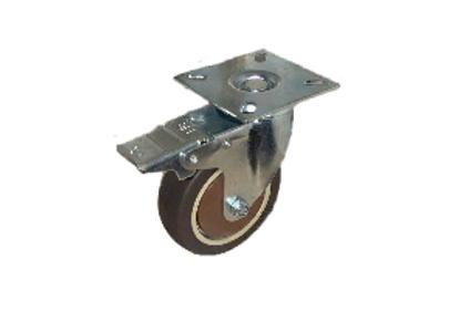 Колесо коричневая мягкая резина поворотное с тормозом (металл) 75мм (SCGB93)