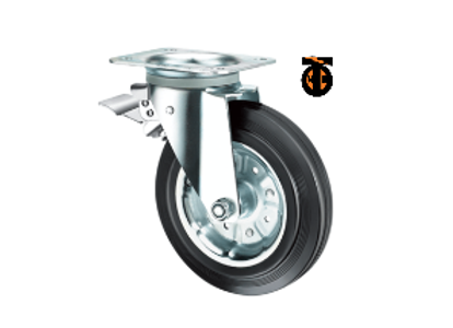 Колесо усиленное обрезиненное поворотное с тормозом 160