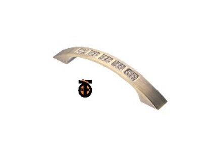 Ручка-скоба с кристаллами плоские концы, бронза, 96 мм