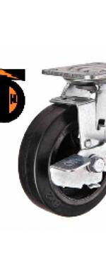 Колесо большегрузное обрезиненное поворотное с тормозом D 100   SCDB 42