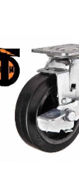 Колесо большегрузное  обрезиненное поворотное с тормозом  D-250  SCDB85