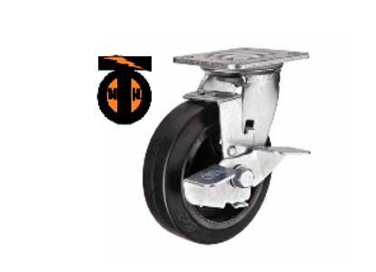 Колесо большегрузное обрезиненное поворотное с тормозом D 160   SCDB 63