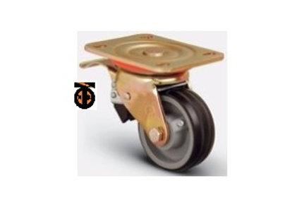 Колесо Б/Г обрезиненное поворотное с тормозом 100 мм ED01 VBR 100 F, диск-чугун