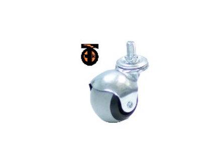 Колесо мебел. шарик поворотное с болтом М10 50мм (серая резина)
