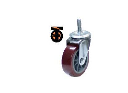 Колесо мебел. поворотное болт.крепление (М10) 50мм (красный пластик)
