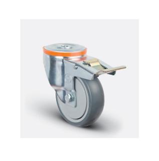 Колесо аппаратное с подшипником поворотное под болт M12 с тормозом 80 мм