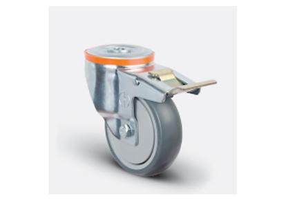 Колесо аппаратное с подшипником поворотное под болт M12 с тормозом 100 мм