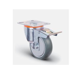 Колесо аппаратное с подшипником поворотное с тормозом 80 мм