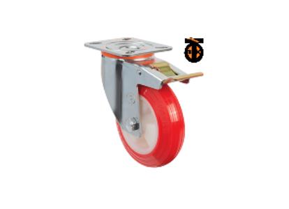 Поворотное полиуретановое колесо с тормозом EM01 ZKP F 150