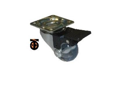 Колесо мебельное поворотное с тормозом 75мм (прозрачный PVC)