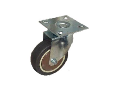 Колесо коричневая мягкая резина поворотное 75мм (SCG93)