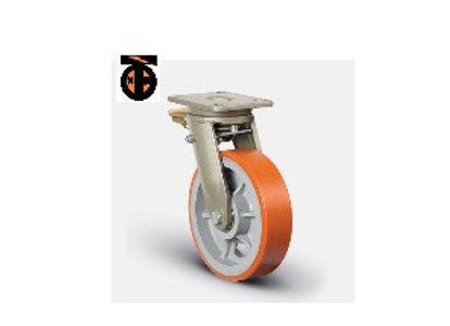 Колесо сверхмощное полиуретановое поворотное с тормозом 300 мм ( EV01 VBP 300 F)