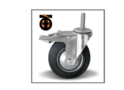 колесо промышленное поворотное 075 с болтовым креплением  М12  с тормозом SCTB93