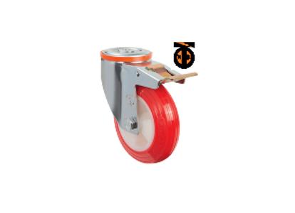 Поворотное полиуретановое колесо с креплением под болт и тормозом EM04 ZKP F 125