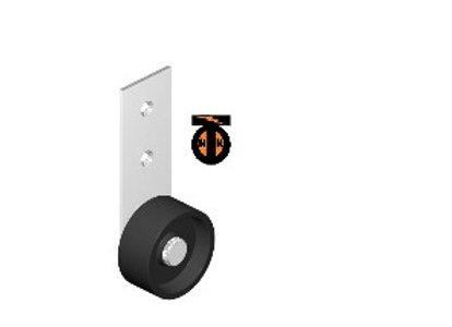 Колесо мебел. неповоротное боковое на узкой пластине 40мм (серый пластик) (514Р)