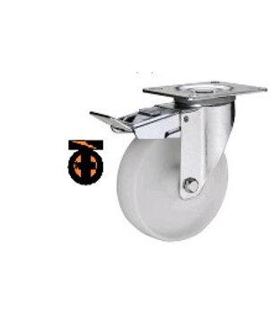 Колесо полиамидное( нейлоновое ) поворот с тормозом, 125 мм   1123125