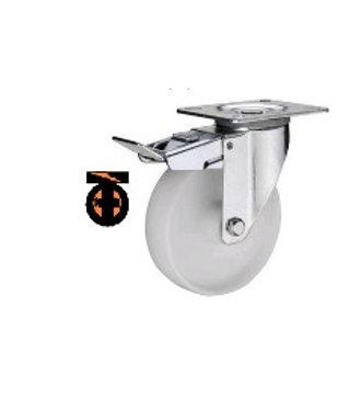 Колесо полиамидное( нейлоновое ) поворот с тормозом, 160 мм  1123160