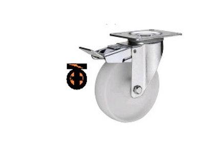 Колесо полиамидное( нейлоновое ) поворот с тормозом, 100 мм  1123100